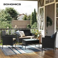 Songmics - Garden Furniture Sets-4, Polyrattan Outdoor Patio Furniture, Conservatory PE Wicker Furniture, for Patio Balcony Backyard, Black and Beige