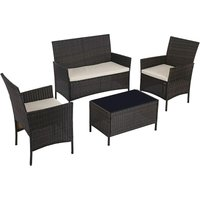 Songmics - Garden Furniture Sets, Polyrattan Outdoor Patio Furniture, Conservatory PE Wicker Furniture, for Patio Balcony Backyard, Brown and Beige