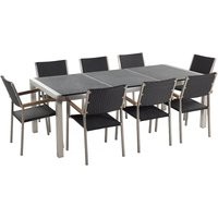Beliani - 8 Seater Garden Dining Set Black Granite Triple Plate Top with Black Rattan Chairs GROSSETO