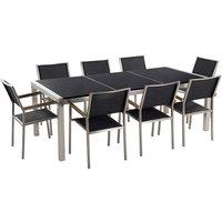 Garden Outdoor Dining Set Black Granite Tabletop 8 Black Chairs Grosseto