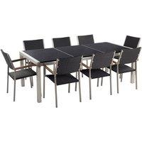 Beliani - Garden Outdoor Dining Set Black Granite Tabletop 8 Grey Rattan Chairs Grosseto