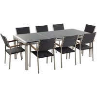 8 Seater Garden Dining Set Grey Granite Top and Black Rattan Chairs GROSSETO