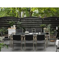 8 Seater Garden Dining Set Grey Granite Top and Black Rattan Chairs GROSSETO - BELIANI