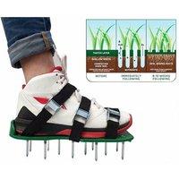 Garden Lawn Aerator Shoes Sandal Spike Aeration Pair Of Grass Green Tool Tip Lake Soil Shoes Black 30 x 13cm
