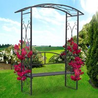 Garden Metal Arch Gate with 2 Seater Bench Plant Climbing Trellis