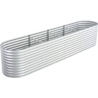 Youthup - Garden Planter 400x80x81 cm Galvanised Steel Silver