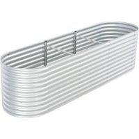 Garden Planter Galvanised Steel 320x80x81 cm Silver - Silver