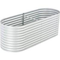Garden Planter Galvanised Steel 240x80x81 cm Silver - Silver