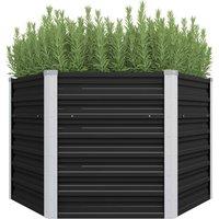 Garden Planter Anthracite 129x129x77 cm Galvanised Steel