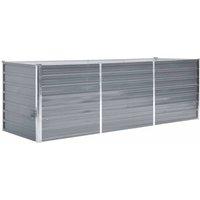 vidaXL Garden Raised Bed Galvanised Steel 240x80x77 cm Grey - Grey