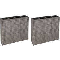 Youthup - Garden Planter with 4 Pots 2 pcs Poly Rattan Grey