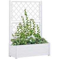 Betterlifegb - Garden Planter with Trellis 100x43x142 cm PP White24847-Serial number