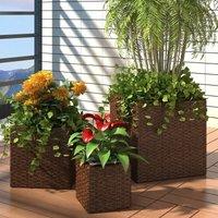 Garden Planters 3 pcs Poly Rattan Brown