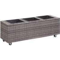 Zqyrlar - Garden Raised Bed with 3 Pots 100x30x36 cm Poly Rattan Grey - Grey