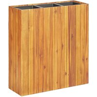 Garden Raised Bed with 3 Pots Solid Acacia Wood - Brown