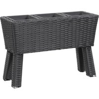 Garden Raised Bed with Legs and 3 Pots 72x25x50 cm Poly Rattan Black - ASUPERMALL