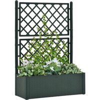 Garden Raised Bed with Trellis and Self Watering System Green - Green - Vidaxl