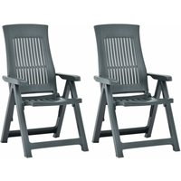 Garden Reclining Chairs 2 pcs Plastic Green33895-Serial number