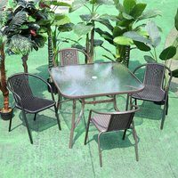 Garden Ripple Glass Square Table And Stackable Chair Set With Umbrella Hole, Brown Table + 2 Chairs