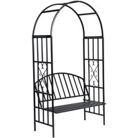 Zqyrlar - Garden Rose Arch with Bench - Black