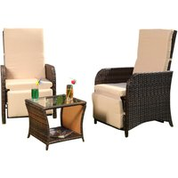 Garden set 2 armchairs and table Polyrattan seating set Garden furniture Lounge Brown - MUCOLA