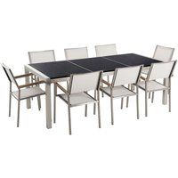 8 Seater Garden Dining Set Black Granite Triple Plate Top and White Chairs GROSSETO - BELIANI