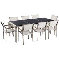 Garden Dining Set Grey Granite Triple Plate Tabletop 8 Beige Chairs Grosseto