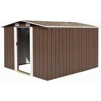 Zqyrlar - Garden Shed 257x298x178 cm Metal Brown - Brown