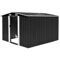 vidaXL Garden Shed Metal 257x298x178 cm Anthracite - Black