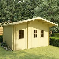 Log Cabin 44 mm 410x320x264 cm Solid Pinewood - Brown - Vidaxl