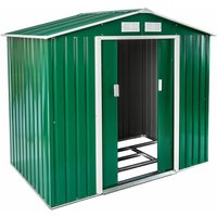 Tectake - Shed with saddle roof - garden shed, metal shed, tool shed - green