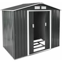 Tectake - Shed with saddle roof - garden shed, metal shed, tool shed - grey