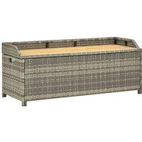 Garden Storage Bench 120 cm Poly Rattan Grey - Grey - Vidaxl