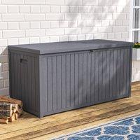 Garden Storage Box 430 Litre Plastic Outdoor Patio Deck Chest - LIVINGANDHOME