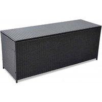 Garden Storage Box Black 150x50x60 cm Poly Rattan - YOUTHUP