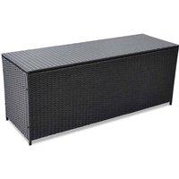Garden Storage Box Black 150x50x60 cm Poly Rattan - Black