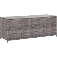 Garden Storage Box Grey 120x50x60 cm Poly Rattan - YOUTHUP