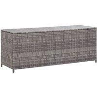Garden Storage Box Grey 120x50x60 cm Poly Rattan - Grey - Vidaxl