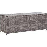Garden Storage Box Grey 150x50x60 cm Poly Rattan - Grey - Vidaxl