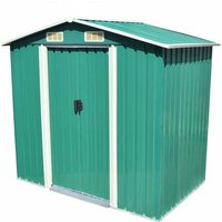 Zqyrlar - Garden Storage Shed Green Metal 204x132x186 cm - Green