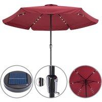 Sun Parasol Garden Umbrella Patio LED Lights Solar 330cm Round Sunshade Canopy Red
