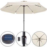 Sun Parasol Garden Umbrella Patio LED Lights Solar 330cm Round Sunshade Canopy Cream