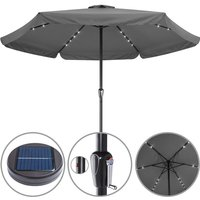 Sun Parasol Garden Umbrella Patio LED Lights Solar 330cm Round Sunshade Canopy Anthracite