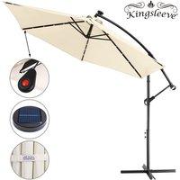 Garden Sun Parasol LED Ø300cm Hanging Umbrella Banana Cantilever Lights Patio Cream