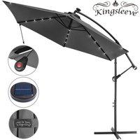 Garden Sun Parasol LED Ø300cm Hanging Umbrella Banana Cantilever Lights Patio Anthracite