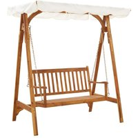 Garden Swing Bench with Canopy Solid Acacia Wood - YOUTHUP