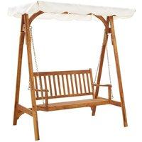 Garden Swing Bench with Canopy Solid Acacia Wood - VIDAXL