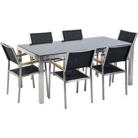 Beliani - 6 Seater Garden Dining Set Black Glass Top with Black Chairs GROSSETO