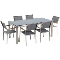 Beliani - 6 Seater Garden Dining Set Black Glass Top with Grey Chairs GROSSETO