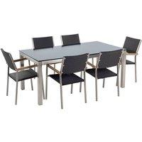 Beliani - 6 Seater Garden Dining Set Black Glass Top Rattan Chairs Steel Frame Grosseto